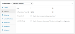 Cost of Goods Variable Product COGs default input field