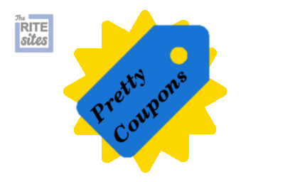 Coupon vector image with pretty coupon labeled within, and The Rite Sites logo